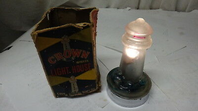 Vintage Crown Battery Operated Lighthouse Lamp Lantern In Original Box   L@@k
