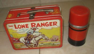 1954 Early Vintage Adco The Lone Ranger And Tonto Metal Lunchbox And Thermos !