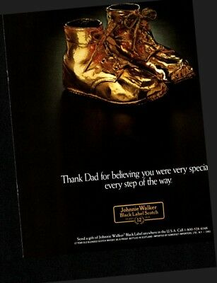 1983 Johnnie Walker Black Label Scotch Whisky Golden Shoes Vintage Print Ad 1071