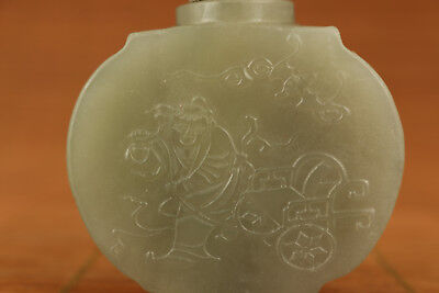 Rare Old Natural Hetian Jade Hand Carved Han dynasty Life Statue Snuff Bottle