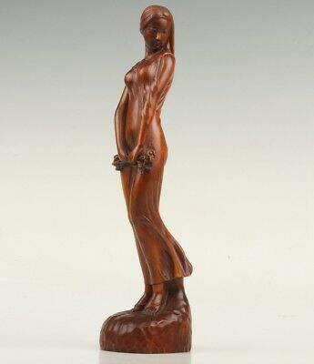 Vintage Chinese Boxwood Statue Old Hand-Carved Belle Crafts Decorative Collec