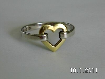 Tiffany & Co Sterling Silver 18K Ring Size 7