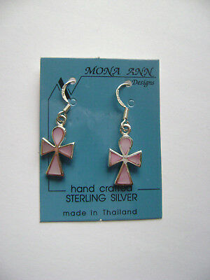 Sterling Silver Pink MOP Inlaid Ankh Egyptian Cross Dangle Hook Earrings New