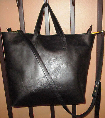 ee4518f6e6 MADEWELL ZIP-TOP TRANSPORT Carryall Crossbody Bag Tote Black Leather ...
