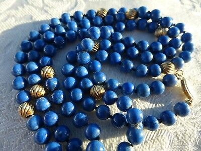 "BEAUTIFUL Vintage LAPIS LAZULI 14k Yellow Gold Beaded NECKLACE 32"" inches"