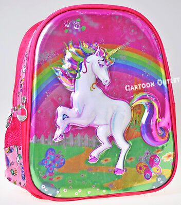 Unicorn Backpack Girls School Bag Pink 3D Face Travel Mochila Unicornio Rainbow