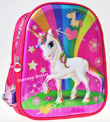 Unicorn Backpack Girls School Bag 3D Face Travel Mochila Unicornio Rainbow Pink