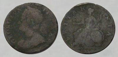 ☆ AMAZING ! ☆ King George II Colonial Copper Copper ☆