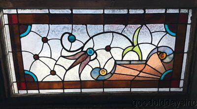 Antique Victorian Chicago Stained Leaded Glass Transom Window Circa 1890