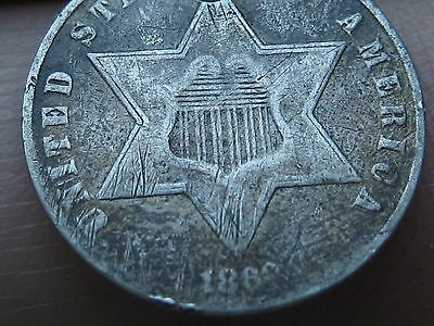1860 Three 3 Cent Silver Trime- VG/Fine Details- Toned