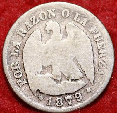 1879 Chile 1 Decimo Silver Foreign Coin
