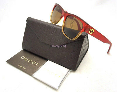 dc63f11c948 NWT Authentic GUCCI GG3850 Red Gold Glitter Sunglasses 60-17-140 Made In  Italy