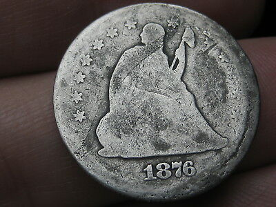 1876 CC Silver Seated Liberty Quarter- Rare Carson City