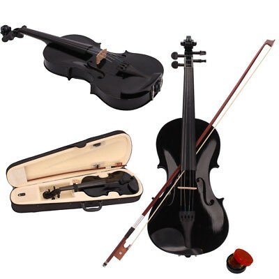 Children 3/4 Size Acoustic Violin Fiddle w/ Case Bow Rosin Black Color