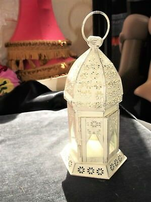 Unusual Cream Painted Pierced Metal Tealight Holder Lantern Glass Panels & Door