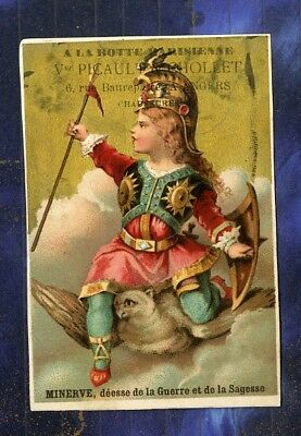 Chromo Picault Chollet Angers Minerve Minerva Chouette Owl Dufour old Trade card