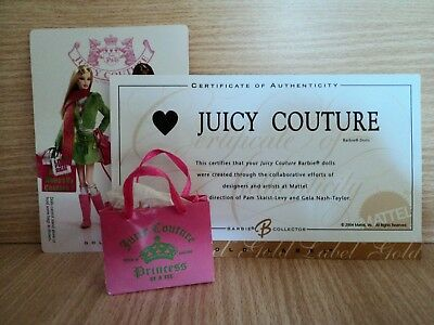 Barbie Juicy Couture PINK Paper Shopper with Picture Card and Certificate