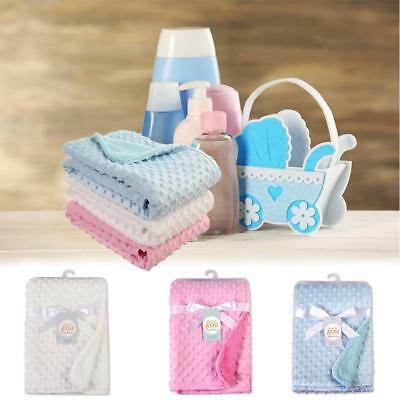 Unisex Dot Minky Baby Blanket Stroller Pram Shower Children's Infant Soft Blanke