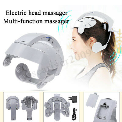 Head Massager Helmet Scalp Brain Relaxation Electric Vibration Acupuncture Gray