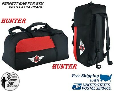 08f18a438e HUNTER CONVERTIBLE BACKPACK   GYM BAG - Black Sports MMA Duffle CARRY-ALL  LARGE