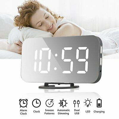 Dual USB Digital LED Clock Snooze Timer Mirror Alarm Clock Time Night Mode UK