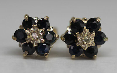 Sapphire And Diamond Cluster Flower Stud Earrings 9Ct Gold