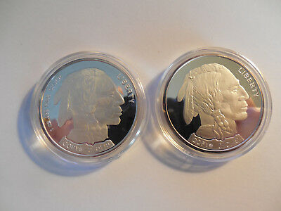 Indian head/Buffalo large 1 oz .999 silver bullion rounds set of two rounds 2003