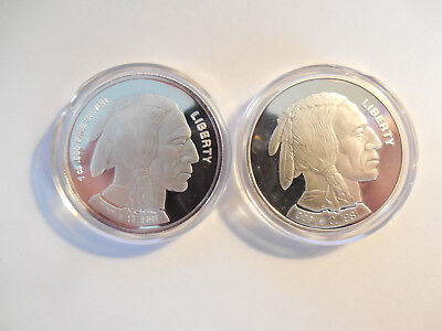 Indian head/Buffalo large 1 oz .999 silver bullion rounds set of two rounds 2002