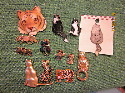 job lot of amazing CATS lion tiger felines brooches pins