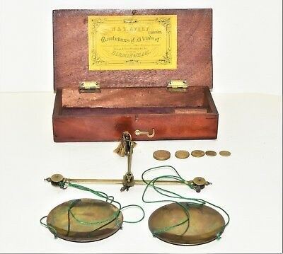 Antique Victorian Small Hand Held Brass Apothecary Scales & Weights W & T Avery