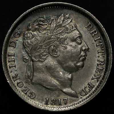 1817 George III Milled Silver Shilling, UNC