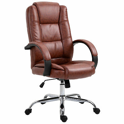 High Back Executive Office Chair Ergonomic PU Leather Seat 360° Swivel