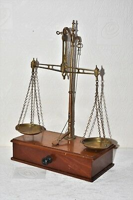 Antique Victorian Beam Scales Brass Apothecary Scales & Weights