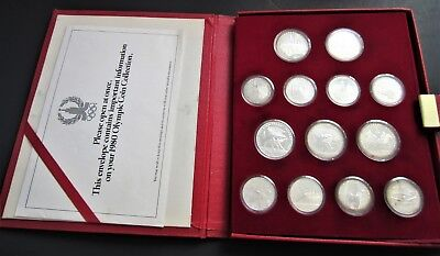 1980 Moscow (USSR) Olympics XXII 28 Coin Silver (90%) Proof Set with COA
