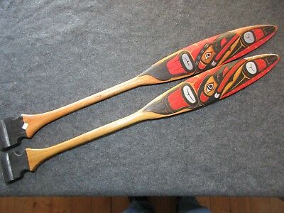"""Northwest Coast Ceremonial """"raven"""" Paddle, Hand Carved & Painted Oar Wy-02453"""