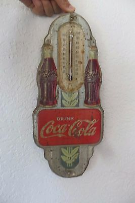 Drink Coca-Cola soda pop embossed double bottle 1942 dated thermometer sign