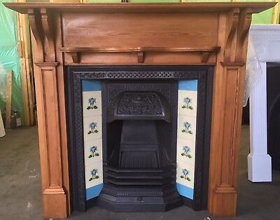 Victorian Style Tiled Cast Iron Fireplace With Original Tiles & Wooden Surround