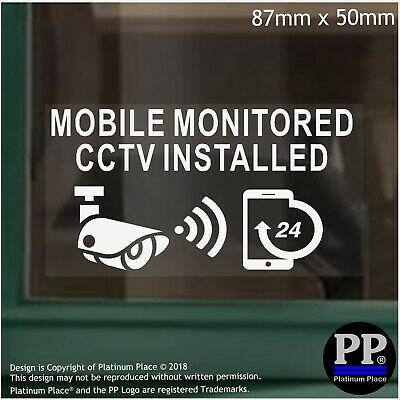 5 x Mobile Monitored CCTV Installed Internal Stickers Home Security Warning Sign