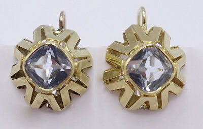 Antike elegante Jugendstil 585 Gold French Cut Aquamarin earrings Ohrringe 419