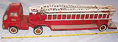 1960's Tonka Hook & Ladder TFD Fire Truck and Trailer Hydraulic Aerial Ladder