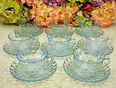 8 Beautiful Vintage Anchor Hocking Depression Glass Cups & Saucers ~ Blue Bubble