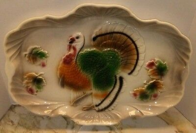 Thanksgiving Turkey Meat Serving Platter Vintage 1959 Lane & Co Pottery LARGE