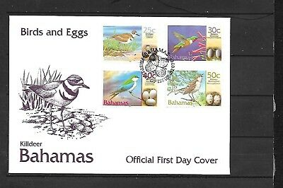 (h471) BAHAMAS, 2001 Stamp FDC, Birds & Eggs, 25c to 50c