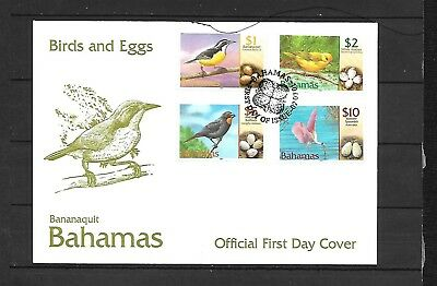 (h473) BAHAMAS, 2001 Stamp FDC, Birds & Eggs, $1 to $10