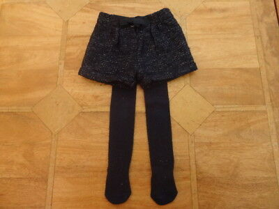 Girls Nutmeg Navy Shorts with Sparkly Silver Thread & Tights - Age 12-18m