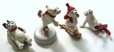Set of 4 COCA COLA COKE POLAR BEAR WINTER FIGURES from TCCC in 1993 - REDUCED!!!