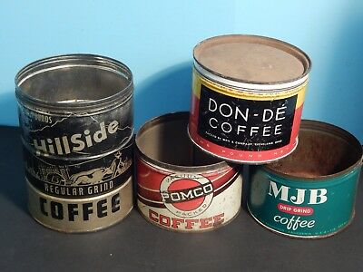Vintage Lot of Coffee Tins Advertising Cans