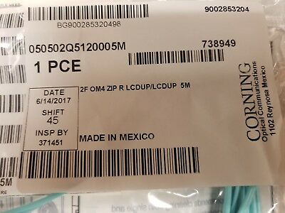 SEALED CORNING GOLD 5 METER DUPLEX OM4 AQUA LC-LC FIBER OPTIC CABLE 50/125 50um