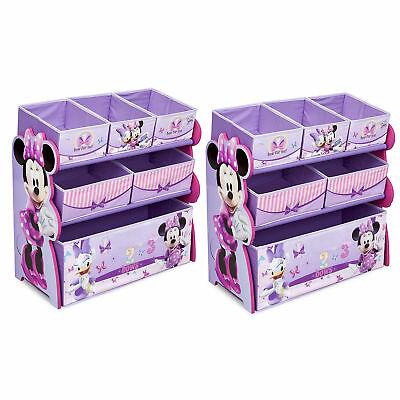Delta Children Minnie Mouse Wooden Multi Bin Toy Storage Organizer (2 Pack)