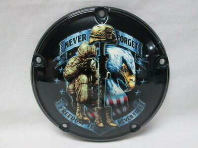 Harley Davidson Custom 5 Hole Derby Cover - Never Forget Freedom Is Never Free